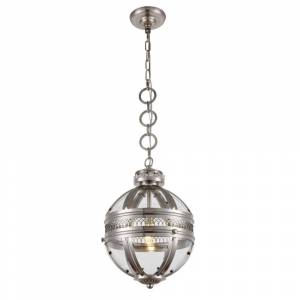 ELEGANT FURNITURE & LIGH Timeless Home 12 in. L x 12 in. W x 17 in. H 1-Light Satin Nickel Contemporary Pendant