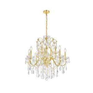 ELEGANT FURNITURE & LIGH Timeless Home 28 in. L x 28 in. W x 28 in. H 12-Light Gold Transitional Chandelier with Clear Crystal