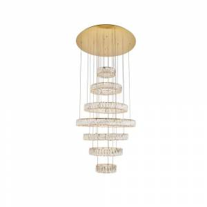ELEGANT FURNITURE & LIGH Timeless Home 34 in. L x 34 in. W x 38.3 in. H 180-Watt Integrated LED Gold Contemporary Chandelier
