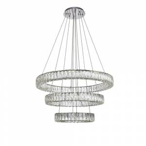 ELEGANT FURNITURE & LIGH Timeless Home 31.5 in. L x 31.5 in. W x 21 in. H 99-Watt Integrated LED Chrome Contemporary Chandelier