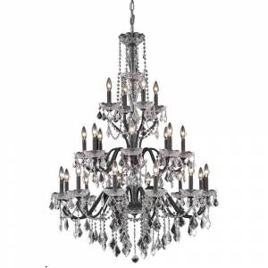 ELEGANT FURNITURE & LIGH Timeless Home 36 in. L x 36 in. W x 49 in. H 24-Light Dark Bronze Transitional Chandelier with Clear Crystal