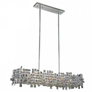 ELEGANT FURNITURE & LIGH Timeless Home 44 in. L x 14 in. W x 9 in. H 8-Light Chrome with Clear Crystal Contemporary Pendant