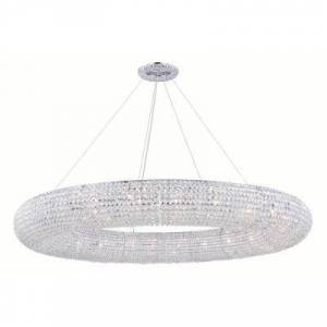 ELEGANT FURNITURE & LIGH Timeless Home 71 in. L x 71 in. W x 7 in. H 30-Light Chrome Contemporary Chandelier with Clear Crystal