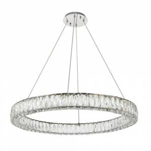 ELEGANT FURNITURE & LIGH Timeless Home 31.5 in. L x 31.5 in. W x 3 in. H 45-Watt Integrated LED Chrome Contemporary Chandelier