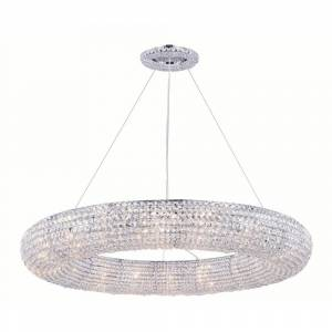 ELEGANT FURNITURE & LIGH Timeless Home 41 in. L x 41 in. W x 5 in. H 18-Light Chrome Contemporary Chandelier with Clear Crystal