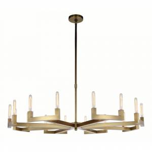 ELEGANT FURNITURE & LIGH Timeless Home 60 in. L x 60 in. W x 11 in. H 16-Light Burnished Brass Contemporary Chandelier