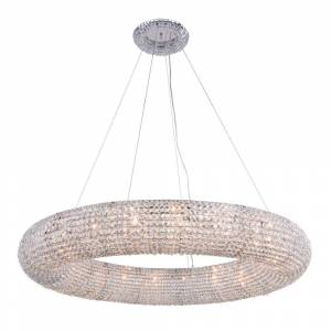 ELEGANT FURNITURE & LIGH Timeless Home 52 in. L x 52 in. W x 7.2 in. H 20-Light Chrome Contemporary Chandelier with Clear Crystal