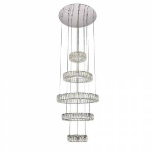 ELEGANT FURNITURE & LIGH Timeless Home 25.6 in. L x 25.6 in. W x 39 in. H 103.5-Watt Integrated LED Chrome Contemporary Chandelier