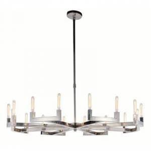 ELEGANT FURNITURE & LIGH Timeless Home 60 in. L x 60 in. W x 11 in. H 16-Light Polished Nickel Contemporary Chandelier