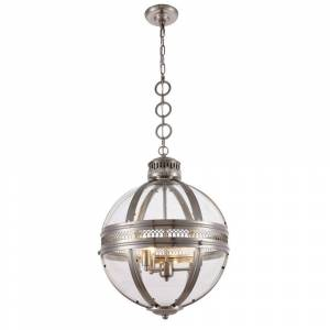 ELEGANT FURNITURE & LIGH Timeless Home 18 in. L x 18 in. W x 24 in. H 3-Light Satin Nickel Contemporary Pendant