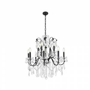 ELEGANT FURNITURE & LIGH Timeless Home 28 in. L x 28 in. W x 28 in. H 12-Light Dark Bronze Transitional Chandelier with Clear Crystal