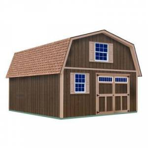 Best Barns Virginia 16 ft. x 36 ft. x 16-1/4 ft. 2 Story Wood Shed Kit without Floor, Clear
