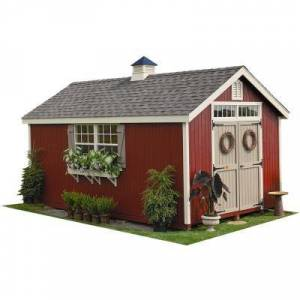 LITTLE COTTAGE COMPANY Colonial Williamsburg 12 ft. x 20 ft. Wood Storage Shed DIY Kit with Floor Kit, Browns / Tans