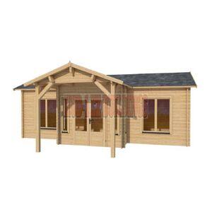 Hud-1 EZ Buildings Cottage 26 ft. x 14 ft. Log Cabin Pool Garden House D.I.Y. Building Kit, Beige / Cream