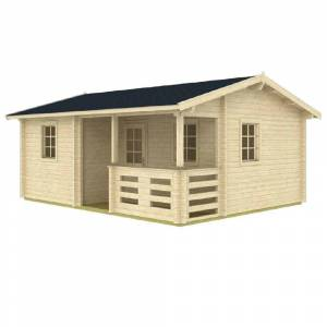 Hud-1 EZ Buildings Anorev 15 ft. x 19 ft. Multi-Room 285 sq. ft. Milled Log DIY Building Kit, Beige / Cream
