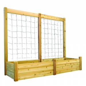 Gronomics 34 in. x 95 in. x 19 in. Raised Garden Bed with 95 in. W x 80 in. H Trellis Kit, Western Red Cedar Unfinished