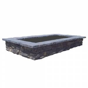 Natural Concrete Products Co 107 in. Fossill Limestone Rectangular Concrete Planter, Gray