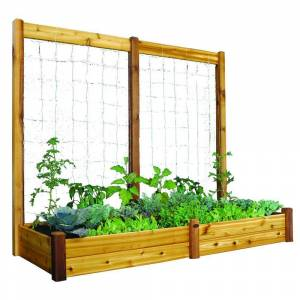 Gronomics 34 in. x 95 in. x 13 in. Raised Garden Bed with 95 in. W x 80 in. H Safe Finish Trellis Kit