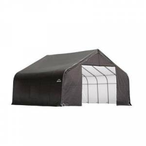ShelterLogic 28 ft. W x 20 ft. D x 16 ft. H Steel and Polyethylene Garage Without Floor in Grey with Corrosion-Resistant Frame, Grays