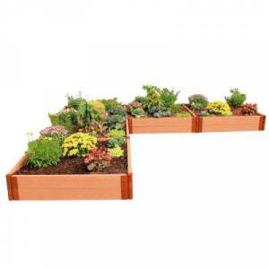 Frame It All Two Inch Series 12 ft. x 12 ft. x 11 in. L Shaped Classic Sienna CompositeRaised Garden Bed Kit, Brown