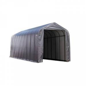 ShelterLogic 16 ft. W x 44 ft. D x 16 ft. H Steel and Polyethylene Garage Without Floor in Grey with Corrosion-Resistant Frame, Grays