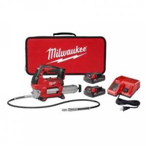Milwaukee M18 18-Volt Lithium-Ion Cordless Grease Gun 2-Speed with (2) 1.5Ah Batteries, Charger, Tool Bag