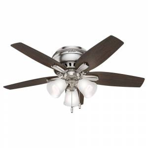 Hunter Newsome 42 in. Indoor Low Profile Brushed Nickel Ceiling Fan with 3-Light Kit