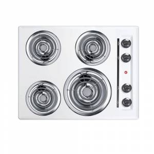 Summit Appliance 24 in. Coil Electric Cooktop in White with 4 Elements