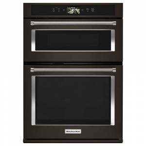 KitchenAid 30 in. Electric Convection Wall Oven with Built-In Microwave and Powered Attachments in PRINTSHIELD Black Stainless, Black Stainless with