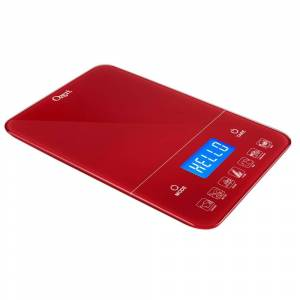 Ozeri Touch III 22 lbs. (10 kg) Digital Kitchen Scale with Calorie Counter, in Red Tempered Glass