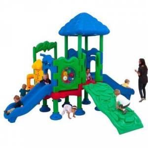Ultra Play Discovery Center Commercial Playground 4 Deck with Roof Ground Spike Mounting
