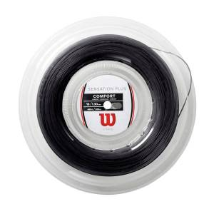Wilson Sensation Plus Tennis String - Reel in Black, 16 GA (1.30MM)  - Unisex - Black