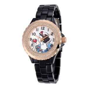 Character Disney Womens Snow White Rose-Tone Black Enamel Watch