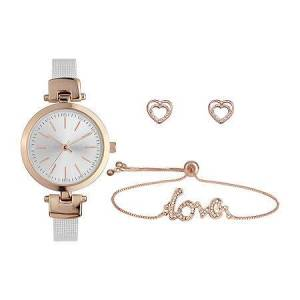 Mixit Womens White 3-pc. Watch Boxed Set-Pt8038rgwh, One Size , No Color Family