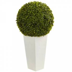 NEARLY NATURAL 28??? Boxwood Topiary Ball Artificial Plant in White Tower Planter (Indoor/Outdoor)