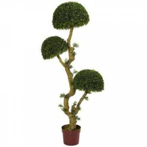 NEARLY NATURAL 5??? Triple Boxwood Artificial Tree; UV Resistant(Indoor/Outdoor)
