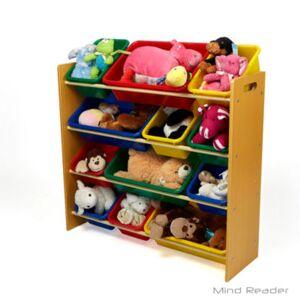MINDREADER Mind Reader 4 Tier Wood Toy Organizer, Brown