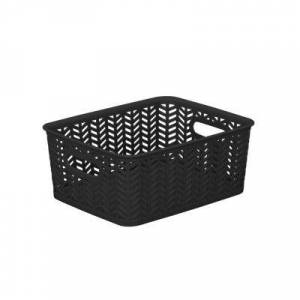 KENNEDY INTERNATIONAL Resin Herringbone Storage Tote - Black-Small 10X8X4