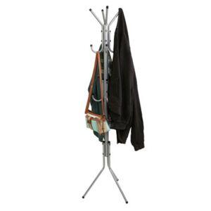 MINDREADER Mind Reader 11 Hook Metal Coat, Jacket, Purse, Scarf Rack, Silver