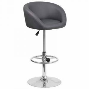 Asstd National Brand Contemporary Adjustable Height Barstool with Chrome Base