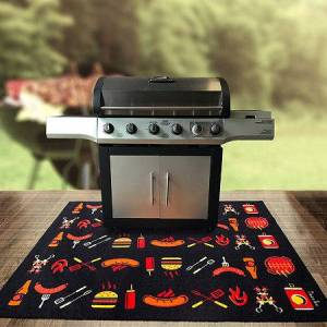 Asstd National Brand Doortex BBQ Mat Under Grill Mat Fire Retardant and Flame Resistant Mat with Cook Design, One Size , Multiple Colors Multiple Colors