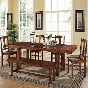 Asstd National Brand 6-Piece Distressed Dark Oak Wood Dining Kitchen Set