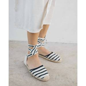 Soludos Classic Striped Sandal - Natural Black / 11