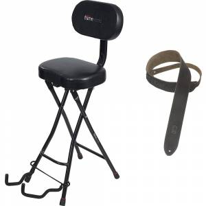 Gator Frameworks Combo Guitar Performance Seat & Guitar Stand w/ Suede Guitar Strap