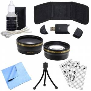 General Brand 52mm Wide Angle & Telephoto Lens, Cleaning Kit, Memory Card Wallet and More