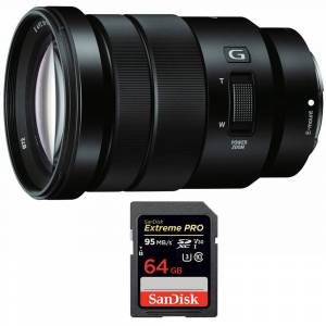 Sony E PZ 18-105mm f/4 G OSS Power Zoom Lens with Sandisk 64GB Memory Card