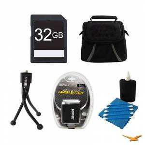 General Brand 32GB SD Card, Case, Battery, Mini Tripod, and Cleaning Kit