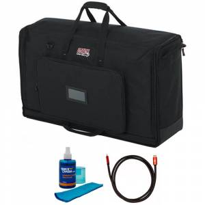 Gator Padded Nylon Dual Carry Tote Bag for 2 LCD Between 27-32 + Cleaner Bundle