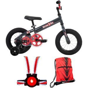 Huffy Grow 2 Go Kids Bike,Balance to Pedal (Red 22301) w/ Wearable Light + More Bundle