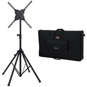 Gator Standard Adjustable Quadpod TV Monitor Stand 65 w/ Gator 40-45 Nylon TV Case